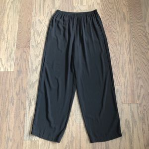 Eileen Fisher Woman 100% Silk Wide Leg Pants